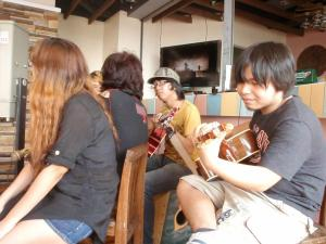 "Asterysk jamming with ""STAY AWAY"" as the crowd sings along From left to right: Kairi, Yomi, Ardi, and Henson"