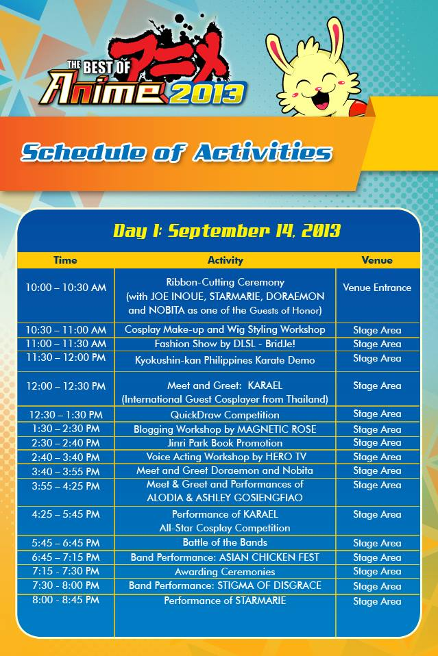 [Event] Best of Anime 2013's Schedule of Activities for Day 1