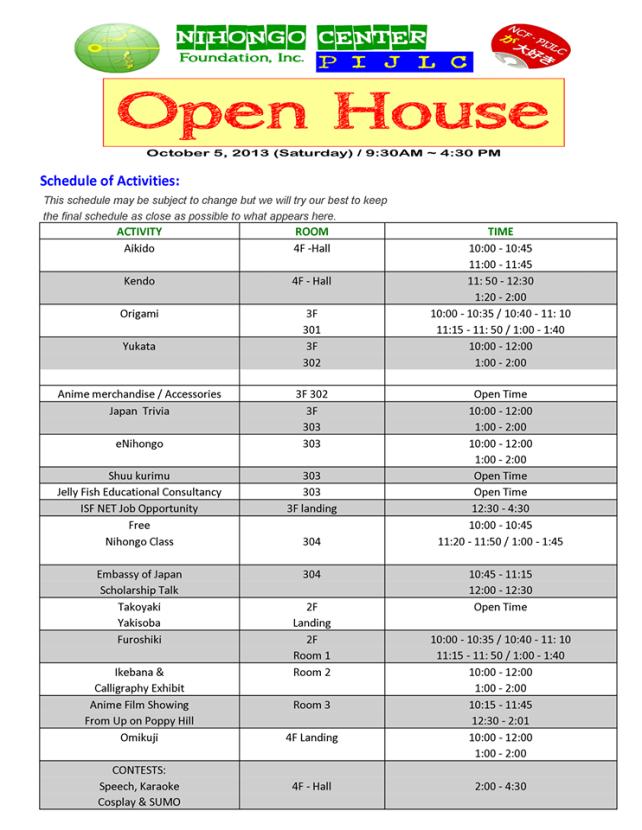 [Event] Nihongo Center Foundation Open House 2013 Schedule of Activities